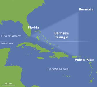 Bermuda Triangle Facts For Kids - Map of us and bermuda